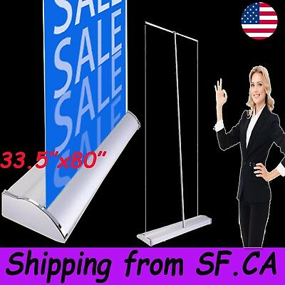 """33.5"""" x 80"""" Premium Retractable Roll Up Banner Stand Pop Up Trade Show Display"""