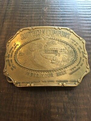 Wow Old Vintage Rare Original Southern Comfort Brass Belt Buckle Great Patina