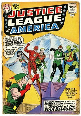 Justice League of America #4 G+ 2.5  Green Arrow joins JLA  DC  1961  No Reserve