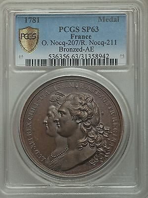 1781 Louis XVI bronze Medal PCGS SP63 - France