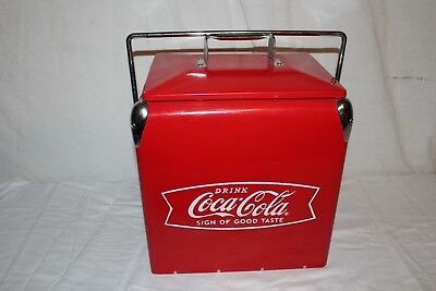 "Coca Cola Fishtail Soda Pop Picnic Cooler 15"" Embossed Metal Sign~Very Nice"