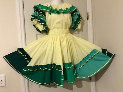 NEW SQUARE DANCE 2 pc DRESS YELLOW WITH COLORFUL RUFFLES LARGE