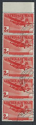 LIBERIA - #C5 - 2c AIRMAIL STRIP OF 5 WITH TOP TAB (1938) MNH