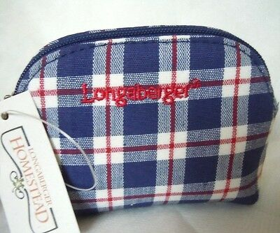 Longaberger Blue Ribbon Plaid  ~ Coin Purse ~ NEW w/tag