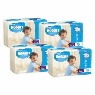 Huggies Ultra Dry Boys Nappies, 144 Pack - Toddler Size 4, Weight 10 - 15kg