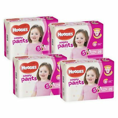 Huggies Ultra Dry Girls Nappy Pants, 104 Pack - Walker Size 5, Weight 12 - 17kg