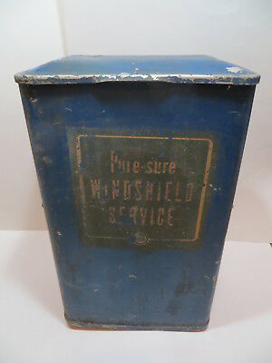 Vtg Pure Sure Windshield Service Station Metal Bucket Can Gas Oil Advertising
