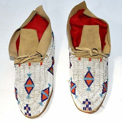 Native American Indian Cheyenne Fully Beaded Moccasins, Parfleche Soles, Trim