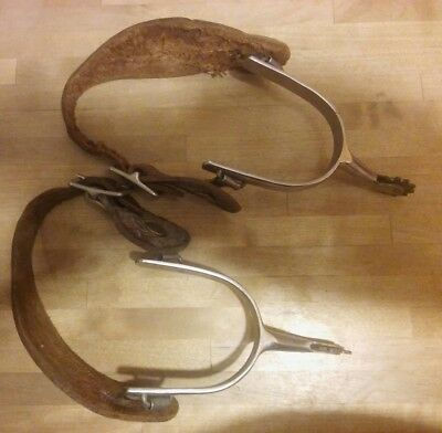 Metal Spurs Natural Leather Straps Brass Buttons And Spurs Used