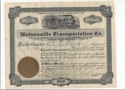 Watsonville California Transportation Share Certificate, 1905