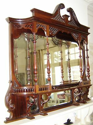 Large Victorian Rocco Art Nouveau Type Mahogany Overmantle Over Mantle Mirror