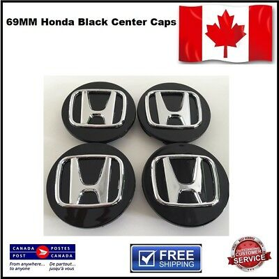 4 PCS HONDA  LOGO WHEEL CAP HUB CENTER 69MM Black 3D Emblem NEW