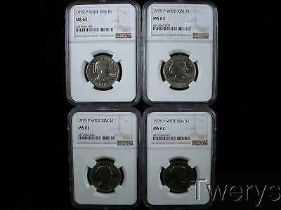 Lot Of 4 Pieces 1979-P Susan B Anthony Dollars Wide Rim Ngc Ms 62