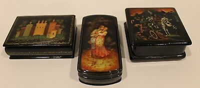 3 Vintage Russian Black Lacquer Trinket Hinged Boxes