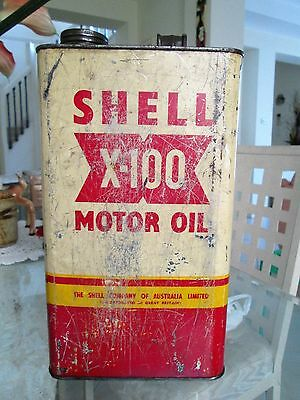 Vintage Shell X-100 Motor Oil CollectableTin/Can - Display/Garage/Man Cave/Shed