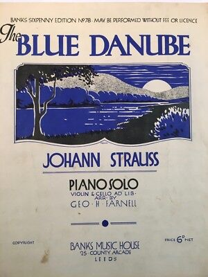 Johann Strauss - The Blue Danube (Piano Solo) VINTAGE SHEET MUSIC (M004)
