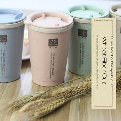 KCASA  Double-wall Insulation Wheat Straw Travel Mug Coffee Cup AU