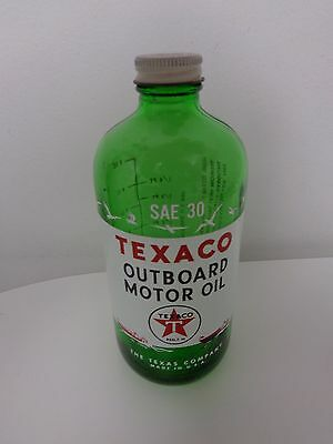 Texaco One Quart Outboard Marine Motor Oil Bottle  Empty Date Code 9-54 Sae 30