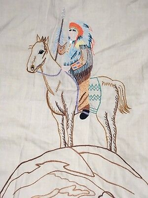 Vintage Kennington Ranch Wear Embroidered Western Indian Chief Shirt Sz. L