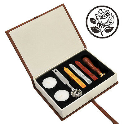 Rose Sealing Stamp With Seal Wax Sticks without Wicks Spoon and Candles Kit Set