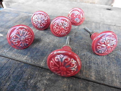 Distressed Red Ceramic Drawer Pull Knob Floral Swirl Design ~ Dresser NEW