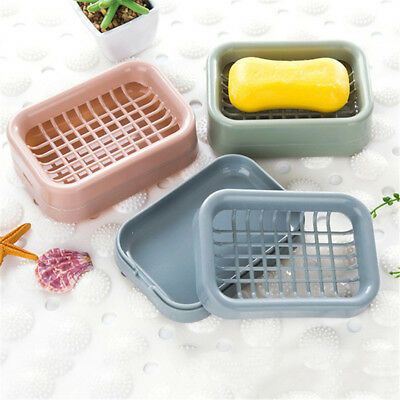Bathroom Water Draining Soap Dish Grids Case Holder Drainer Soap Saver Stand Box