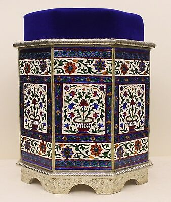 Indian Traditional Design Metal coated wooden White Stool Furniture UK001MF