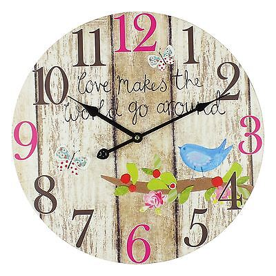 JHLPaper Salad Round Wood Effect Wall Clock 40 cms
