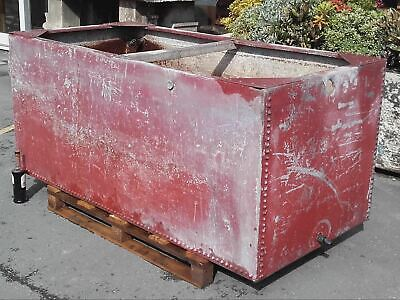 Salvaged Very Large Galvanised Riveted Water Tank / Planter 6ft Long