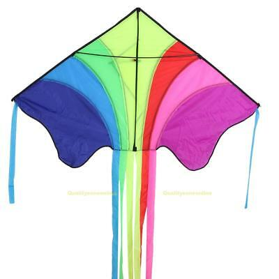 #QZO New Flying Rainbow Childrens Breeze Kite with Elegant Long Tail Good Fly