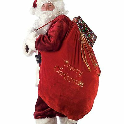 Santa Bag Red Deluxe Velvet Toy Sack Christmas Costume Accessory Fancy Dress New