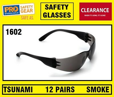 ProChoice TSUNAMI 1602 SAFETY SPECS SMOKE LENS WORK GLASS GLASSES 12 PAIRS (BOX)
