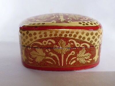 Asian Oriental Lacquer Lidded Box Wood Black Red Cream Golden Shiny