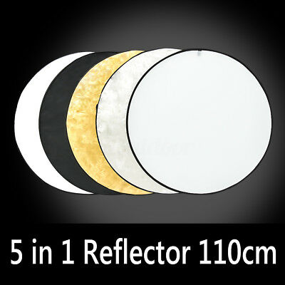 "110CM 43"" 5in1 Photo Studio Disc Collapsible Round Light Reflector+Carrying Bag"