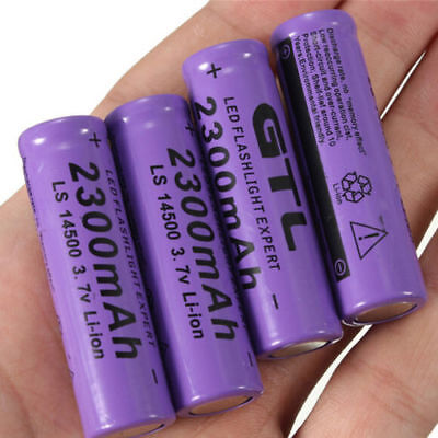 8 Pcs 3.7V 2300mAh 14500 AA Li-ion Rechargeable Battery For LED Flashlight US