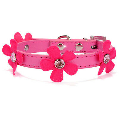 Cute PU Leather Pet Dog Puppy Cat Collar Necklace Pink Flower Necklet Rose Red S