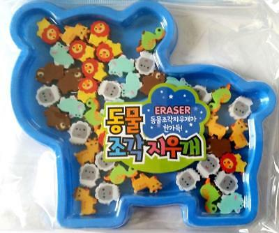 Bulk Pack of 24 Mini Jungle Animal Rubber Erasers Blue Box Novelty Party Favors