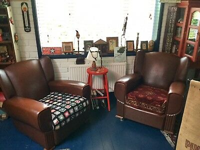 Pair Of 1920's 1930's Art Deco Leatherette Chairs