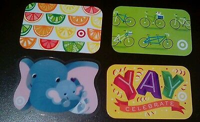 Four TARGET Summer Gift Cards 2017 Elephant, Slices, Yay, Bike Collectible Mint