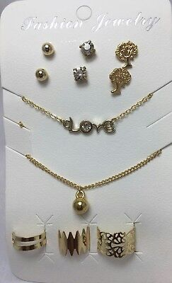 Joblot of 120 Pack Women Gold 2 Necklace , 3 Earrings, 3 Toe Ring& Ring