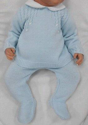 Baby Boy Spanish Knitted 2 Piece Set -  Blue/white know with Peter Pan Collar