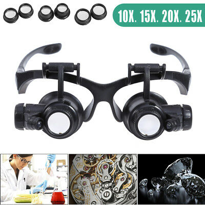 LED Magnifier Magnifying Eye Glass Loupe Jeweler Watch Repair Kit 10/15/20/25 CA