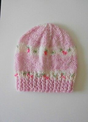 Hand Knitted Baby Hat - Pull On Beanie Style (3 - 6 months) PALE PINK PRINT  P2