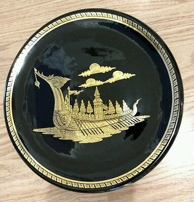 Lacquer Plate Dragon Ship Asian Black & Gold Dish Boat Shiny