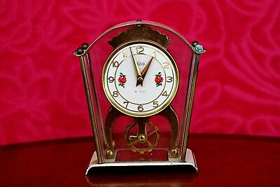 Vintage Schatz 8 Day Skeleton Carriage Mantle Clock, Germany