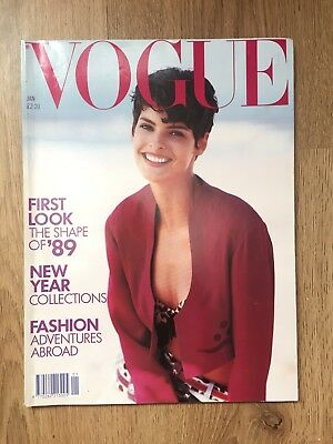 1989 British Vogue Magazine (January) Linda Evangelista cover