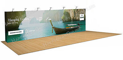Trade show fabric tension pop-up booth 30 ft 10x30 large Exhibition back wall