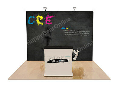 Trade show fabric tension pop-up booth 10ft with casetocounter package