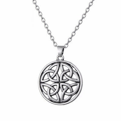 Celtic Pentagon Knot Pendant Chain Necklace Amulet Charm Silver Plated Jewelry