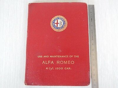 RARO MANUALE IN INGLESE Original Alfa Romeo 6C 1500 Owner's Handbook Manual